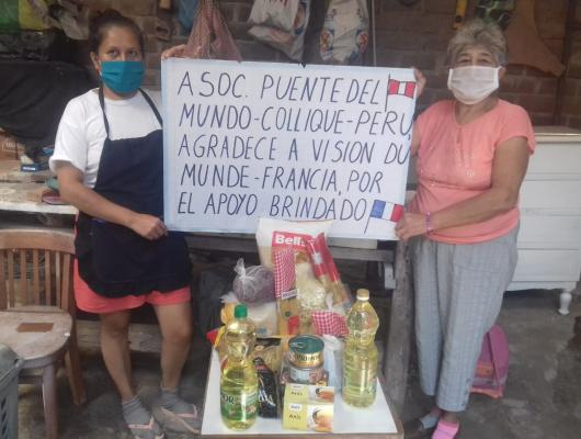 Action solidaire par Vision du Monde : Aide alimentaire pour les familles du bidonville de Colliqué à Lima - covid-19
